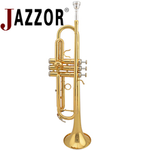 JAZZOR JZTR-300  B flat Gold lacquer trumpet Brass wind instruments with case and mouthpiece