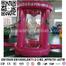 pink color with blower Inflatable money machine booth for outdoor advertising(China)