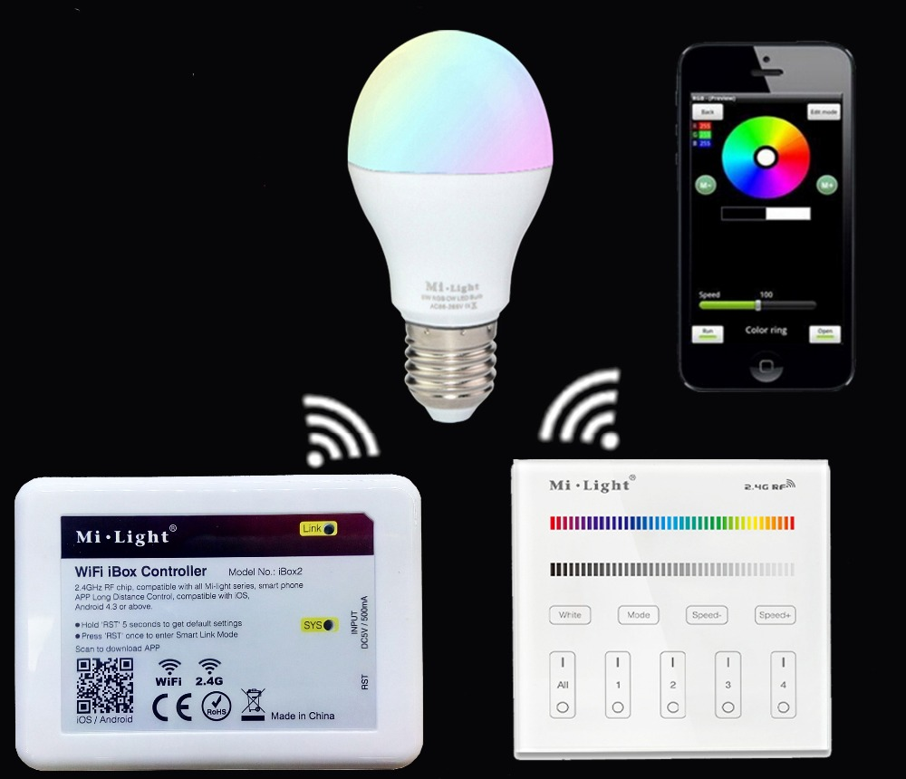 2.4G E27 6W RGBW RGBWW Led Lamp Bulb+Mi.light Wifi Ibox Led Controller+B3/T3 Led Touch Panel Remote Controller<br>
