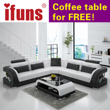 IFUNS China export modern design l shape sectional sofa set living room furniture corner chaise top grain italian leather (fr)(China)