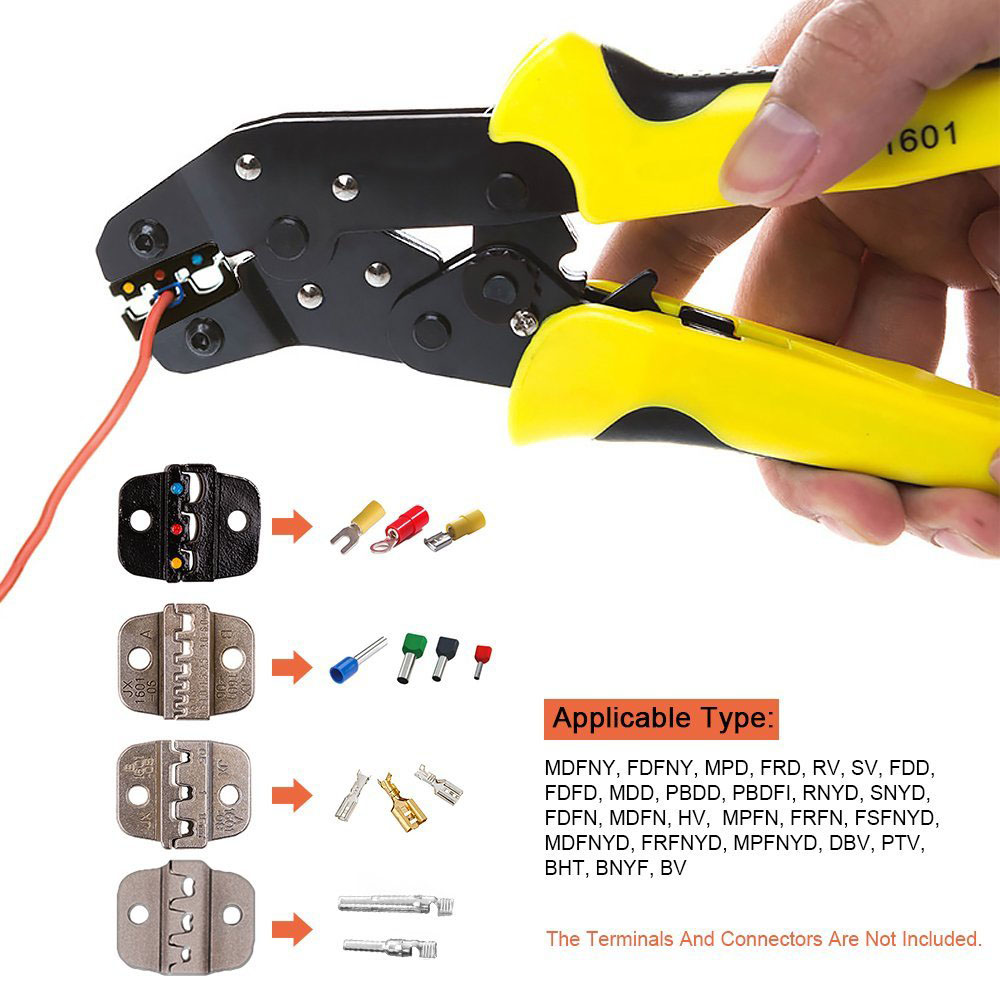 New 4 In 1 Wire Crimper tool Wire Crimper Engineering Ratchet Crimping Plier Ferrule Crimping Multi Tool Cord End Terminals T20<br>