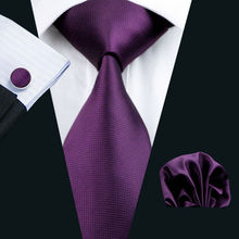 LS-236 Men`s Tie Purple Solid 100% Silk Jacquard Woven Tie Hanky Cufflink Set For Men Formal Wedding Party Business Free Postage