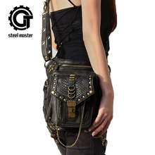 Steelsir 2017 New Arrival Vintage Retro Rock Leather Messenger Waist Bags Steampunk Motorcycle Fashion Women Waist Bag