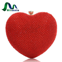 Milisente 2017 New Arrival Rhinestone Bags Heart Shape Bag With Chain Women Designer Handbags Gold Wedding Clutches Party Purse