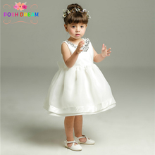 1-12y Ivory Christening Gowns Princess Baby Girls Dress 1Year Birthday Baby Gown Tutu Dress Newborn Baby Wedding Party Dress(China)