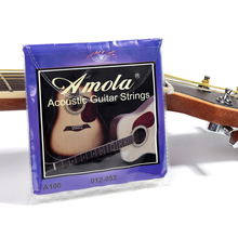 Amola Acoustic Guitar Strings Set 010 012 011 Pure Copper Steel 010-047 Acoustic Wound Guitar 1-6th String Musical Instruments