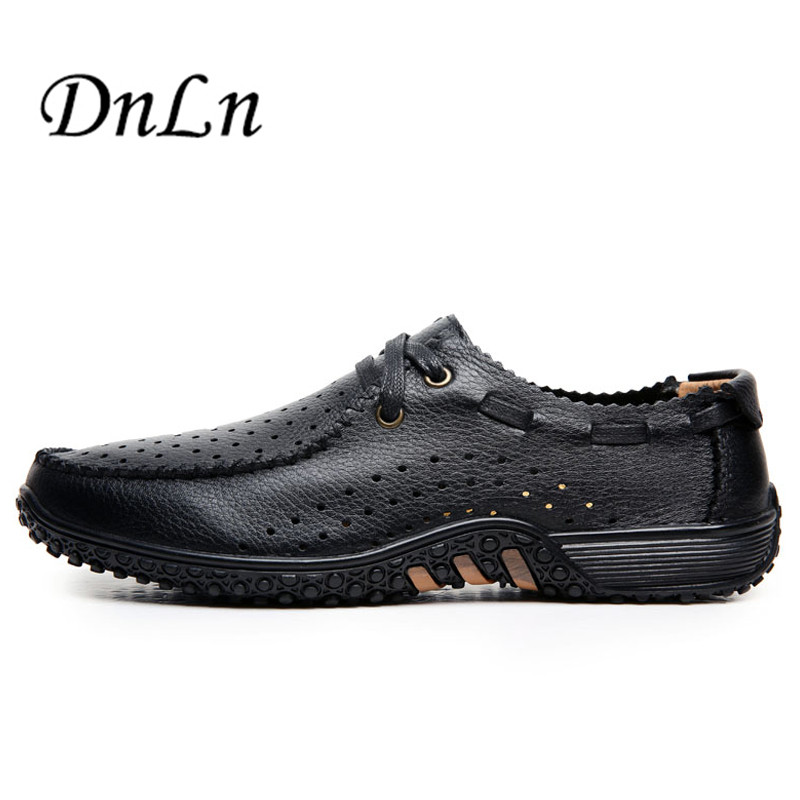 Genuine Leather Men Loafers Summer Man Driving Shoes Ventilate Flats Hole D30<br>