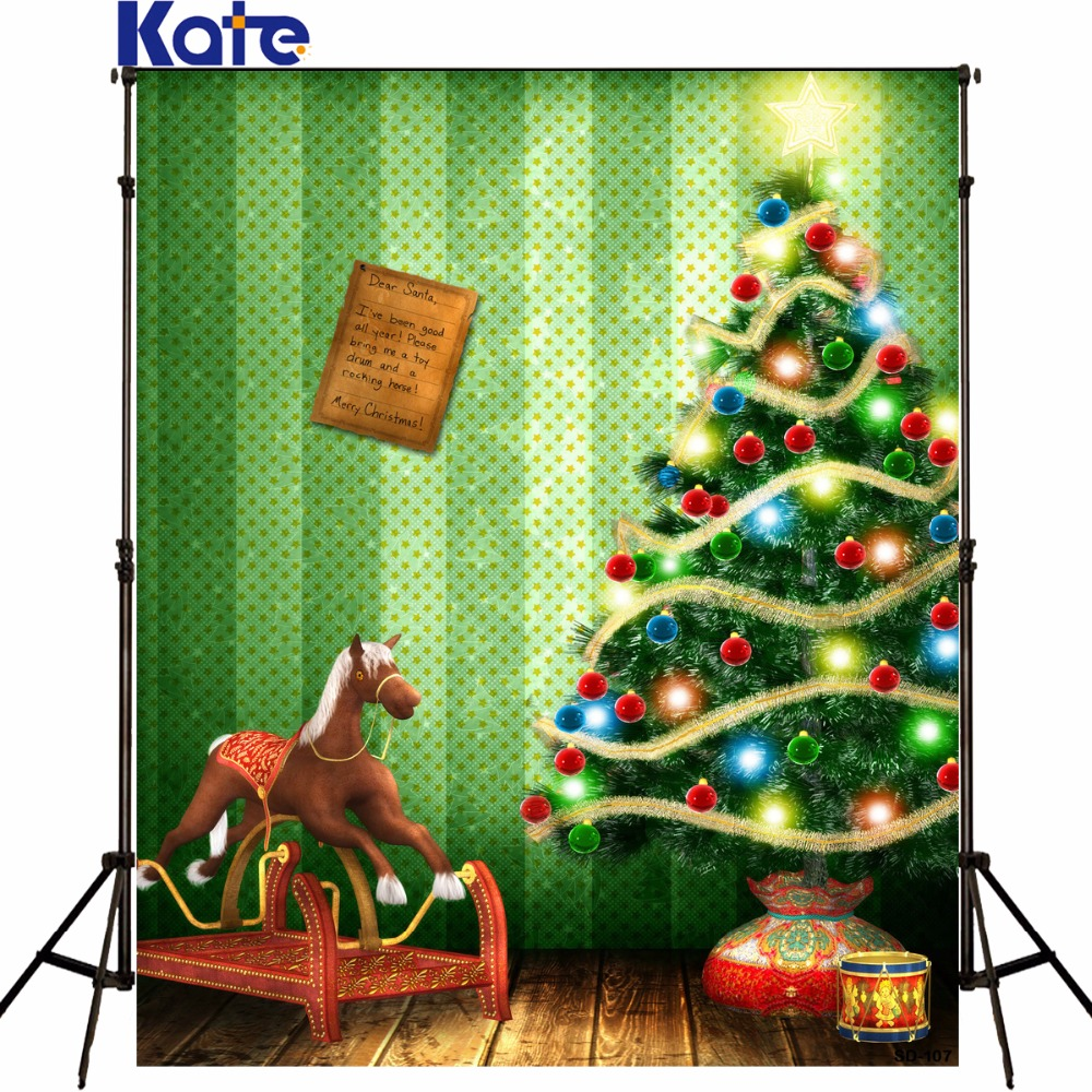 Kate 5*7ft Photography Backdrop Christmas tree Toy Pony green screen Christmas Backdrops Photography background for studioSd-107<br><br>Aliexpress