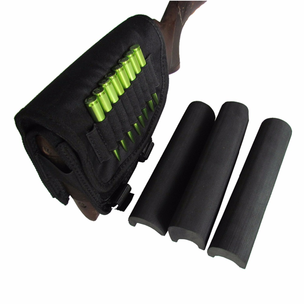Tourbon Hunting Gun Accessories Buttstock Sniper Rifle Cheek Rest with 3 Adjustable Pads Bullet Cartridges Holder Right Handed<br>