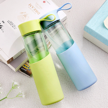 Candy Color Glass Bottle Silicone Creative Mug Cup Fruit colorful Sweet Bottles with rope Eco-Friendly Camping Travel Use