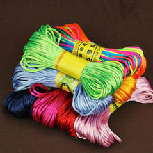 20 Meters/lot Soft Satin Rattail Silk Macrame Cord Multicolors 2mm Shamballa Beading Nylon Cord for DIY Braided Jewelry Making(China)