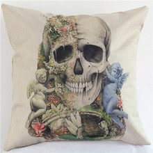 Beautyhouse London Ocean Flowers Skulls wholesale wedding gift cushion cover car home office party sofa decorative pillow case(China)