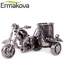 ERMAKOVA Metal Motorcycle Model Pen Container Retro Motorbike Pencil Cup Antique Motor Bicycle Pen Holder Home Office Decor