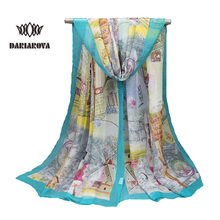 Hot New Georgette Silk Women's Scarves Fashion 2017 High Quality Building Oil Painting Print Scarf Long Soft Chiffon Shawl Hijab(China)