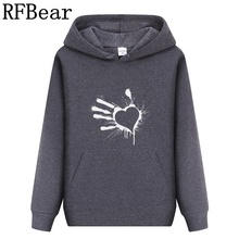 RFBear Brand men Long sleeve cotton Hoodies men's sweatshirt Solid color Printin trend pullover coat warm Winter Factory Direct(China)