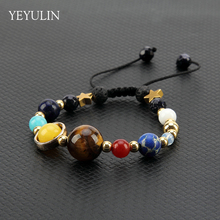 Hot sell Weave the eight major planets Stone Beads Bracelet For Women Men Handmade Bangles Jewelry Gift(China)