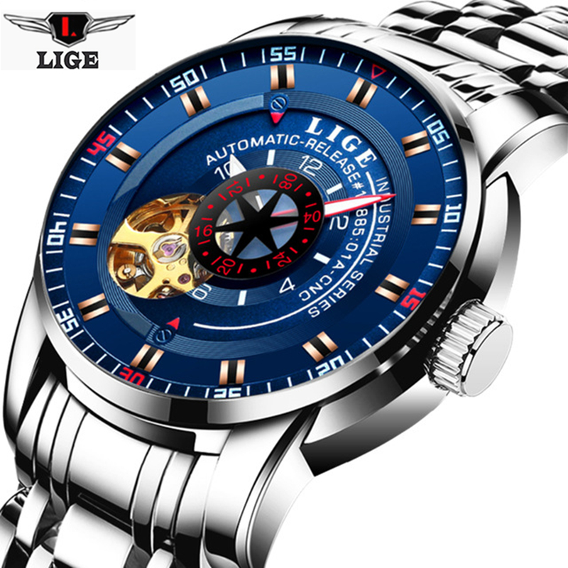 LIGE Mens Watches Top Brand Luxury Automatic Mechanical Watch Men Full Steel Business Waterproof Sport Watches Relogio Masculino<br>