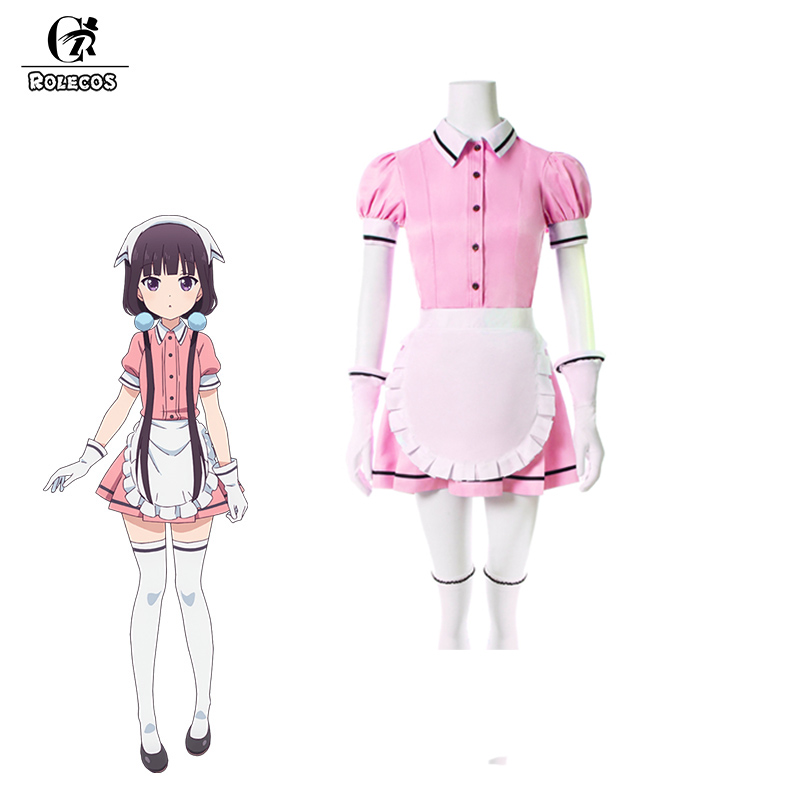 ROLECOS 5 Colors Blend S Cosplay Costume Maika Sakuranomiya Cosplay Stile Cafe Sadistic Anime Maid Costume Women Uniform Dress