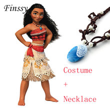 Princess Moana Cosplay Costume for Children Moana Costume with Necklace for Adult Women Halloween Costumes for Kids Girls Gift(China)