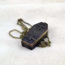 free shipping European and American trade retro alternative personality coffin bat long sweater necklace for men gift