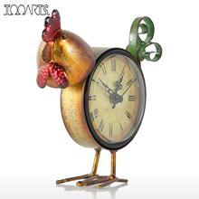 Tooarts Chick Clock Handmade Vintage Metal Chick Figurine Mute Table Clock Practical clock One AA Battery Home Decor Accessories