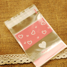 400pcs/lot Clear Pink Heart Cellophane Cookie Bag,Plastic Self Adhesive Seal,Christmas Bakery Macaron Gift Packing