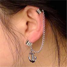 Chain Linked Ear Cuff Anchor Pendant Metallic Punk Wrap Clip Earrings No Pieced for Women Fashion Jewelry Ear Wrap for Girls