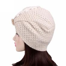 Women Ladies Knitting Bandanas for ladies 2017 casual Cancer Beanie Turban Head Wrap Pile ladies Knitting Fitted Bandanas#2(China)