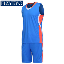 HZYEYO Men Basketball Jersey Sets Uniforms kits Adult Sports clothing Breathable basketball jerseys shirts shorts DIY Custom(China)