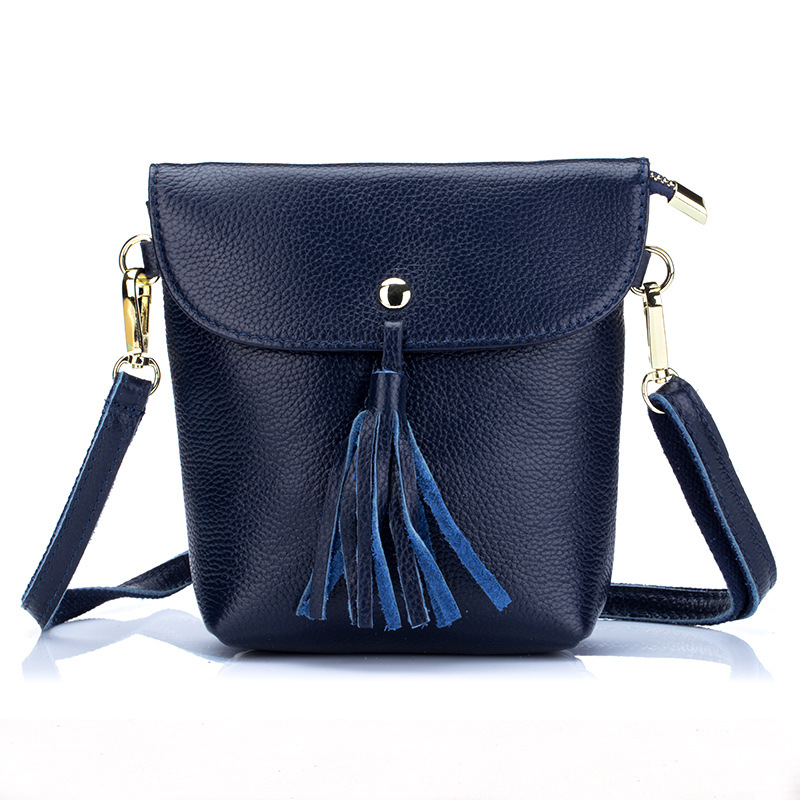 2017 New Genuine Leather Tassel Messenger Bag Women Shoulder Bag Envelope Women Clutch Bag Small Crossbody Party Bag Black Blue<br>