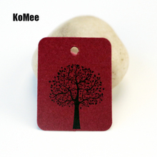 New 5000Pcs/lot 8Colors Kraft Jewelry Tag 2.6*3.3cm Tree Design HangTags Rectangle Shape Paper Jewelry Card Price Tag Label