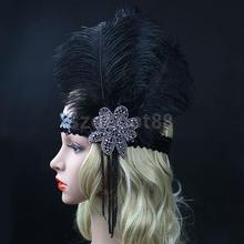 Black Crystal Sequins Ostrich Feather Headpiece Vintage Headband Flapper