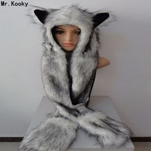Mr.Kooky New Fashion Faux Fur Funny Cool Animal Hats With Long Scarf Wolf Fur Paws Beanies Winter Warm Cartoon High Quality Caps(China)