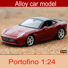 1:24 Portofino Alloy Car Static Model Sports Car Supercar Collection Model Color Box Package Toys Office Decoration(China)