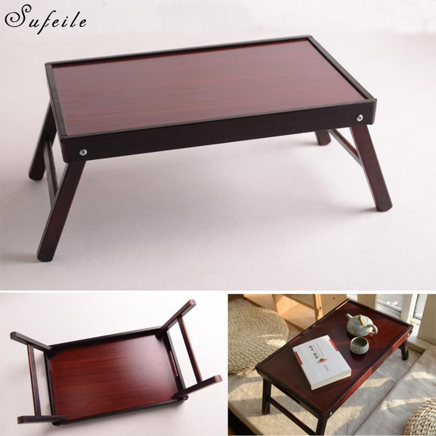 SUFEILE 2 Colors Wood Folding Laptop Table Stand for Bed Portable Laptop Table Foldable Notebook Desk D5<br>