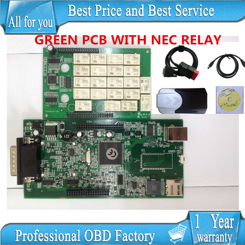 DHL FREESHIP 10pcs /lots 2015.1 free active any time without BLUETOOTH new vci TCS cdp pro plus with NEC RELAY green pcb<br><br>Aliexpress