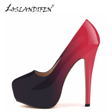LOSLANDIFEN Women Pumps Round Toe Platform Leather Stiletto Pumps Sexy Extremely High Heels Shoes Woman Red Party Wedding Shoes