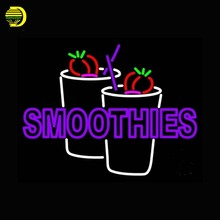 Purple Double Stroke Smoothies Neon Sign Neon Bulb Publicidad Handcrafted Glass Tube Affiche Neon Light Wall Lighted Signs 24x20(China)