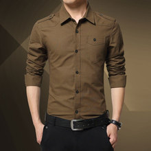 Spring And Autumn New Men's Cotton Washed Long-sleeved Military Wind Shirt