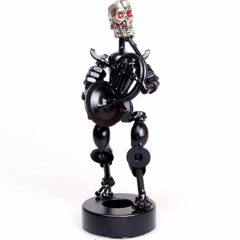 1pc Metal Crafts Creative Iron Skull Pen Holder Student Festive Gifts Home Retro Decoration Musical Instrument Collection