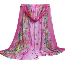 Women Ladies Large Flowers Pattern Print Chiffon Scarf Warm Wrap Shawl