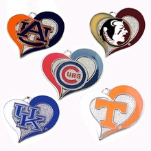 Auburn Tigers Chicago Cubs Florida State Seminoles Kentucky Wildcats UK Tennessee Vols Volunteers team logo swirl heart charm(China)