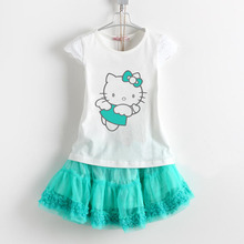 Hello Kitty Dress Girls Party Dresses Kids Dresses Costume for Kids T-Shirt Set Girl Dresses for Party and Wedding