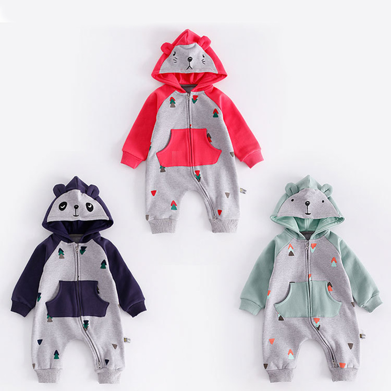 Peninsula baby Autumn Winter thick Long sleeve Hooded climbing suit Cartoon Color patchwork triangle print pocket romper clothes<br>
