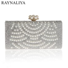2017 Hot Fashion Handmade Single Face Beaded Pearl Evening Bag Clutch Crystal Purse Bag Party Wedding Bag SMYCWL-E0014(China)