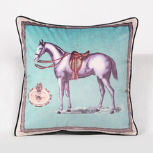 Velvet Fabric Royal Horse Pattern Pillowcase for Decorative Home Cushion Cases with European Style(China)