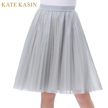 Kate Kasin Women Summer Sweet Tutu Solid Grey A-Line Underskirt Young Ladies Girl Soft Tulle Netting Pleated Swing Skirt 2017