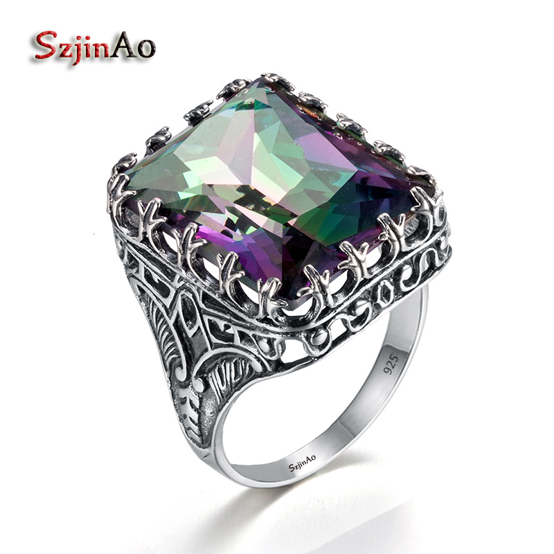 Szjinao Kpop Ring For Women Real 925 Sterling Silver Punk Ring Mystic Rainbow Topaz Gemstones Wide Large Vintage Silver Jewelry
