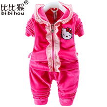 Mother kids clothes Baby Girls hello kitty Velvet Clothing set Hoodies 2pcs suit christmas costumes for kids Children Clothing