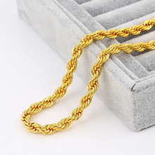 "Mens 5mm Thick 23.6"" Long Solid Rope Chain Yellow/ Silver Gold Plated Twisted Long Heavy Necklace Europe Style Chain"